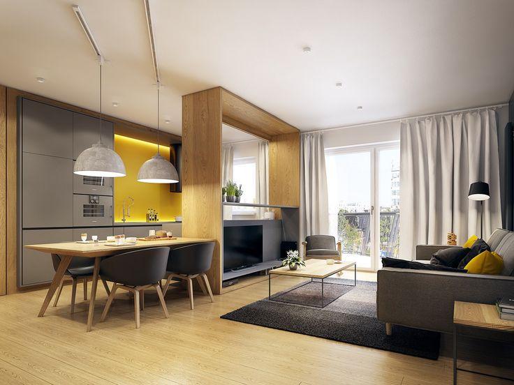 phòng khách liền phòng bếp và phòng ăn