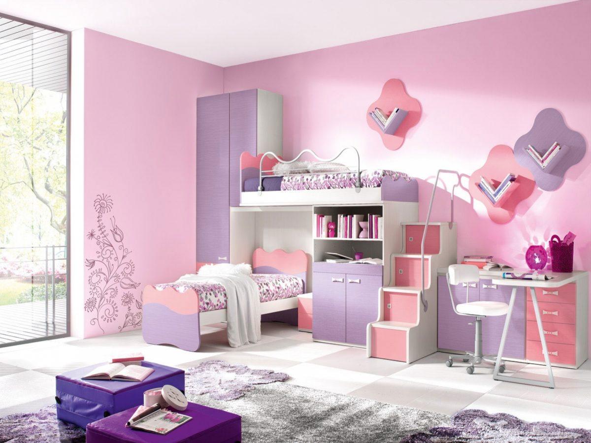 mẫu nội thất phòng khách dành cho bé gái gam màu hồng