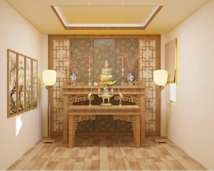 lựa chọn màu sắc nội thất phòng thờ