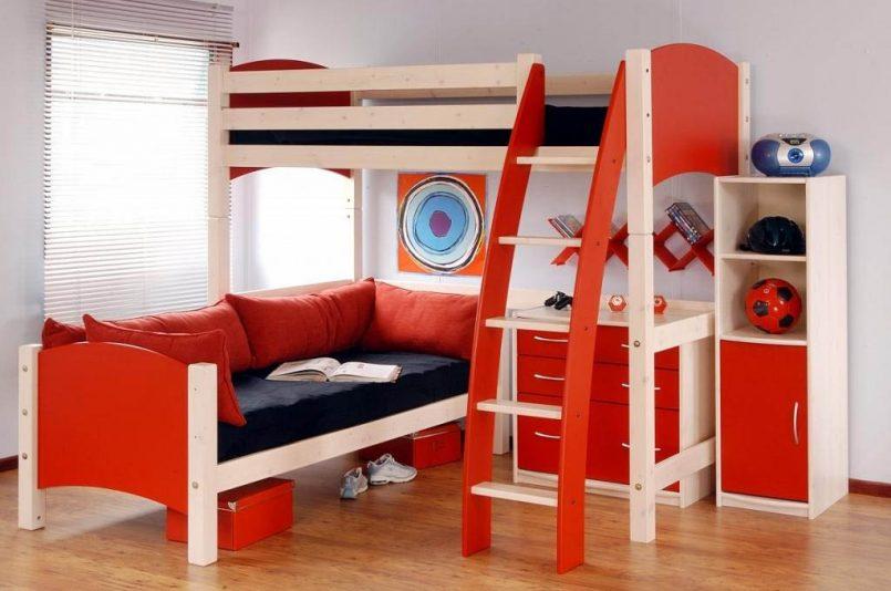 giường 2 tầng màu đỏ cho bé trai