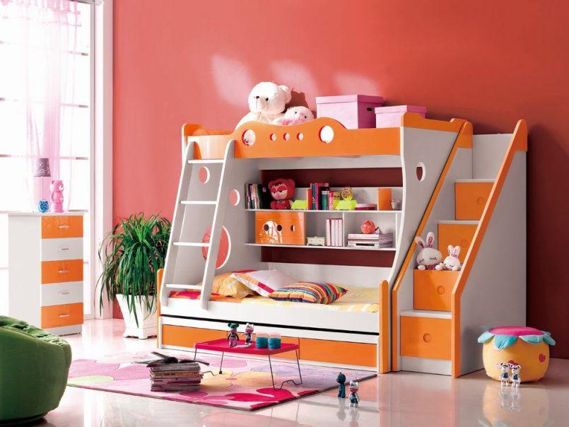 giường ngủ 2 tầng 2 cầu thang dễ thương cho bé gái