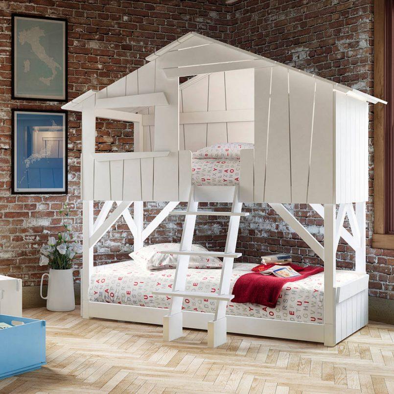 giường 2 tầng hình toà nhà dành cho bé trai