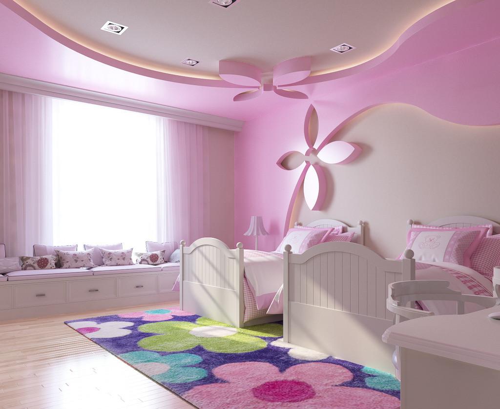 trần thạch cao chủ đề thiên nhiên cho phòng ngủ bé gái