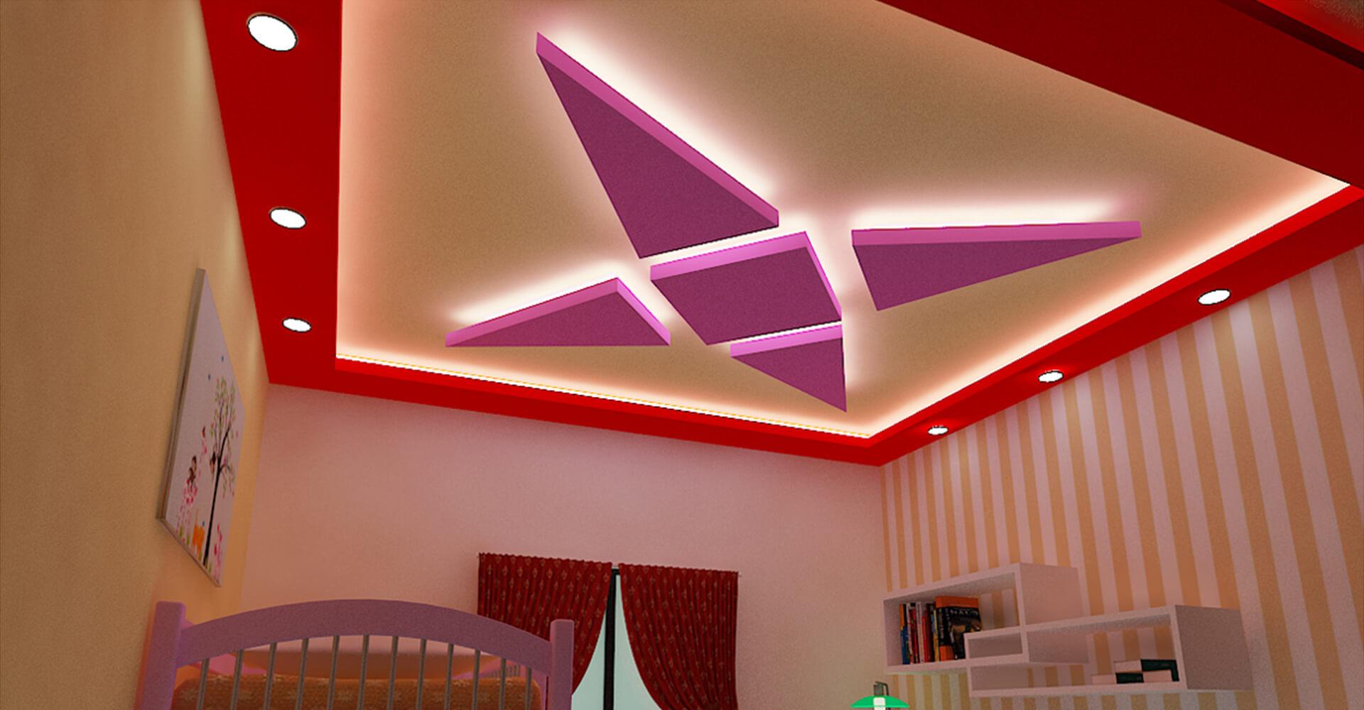trần thạch cao hình sao 4 cánh cho phòng ngủ trẻ em