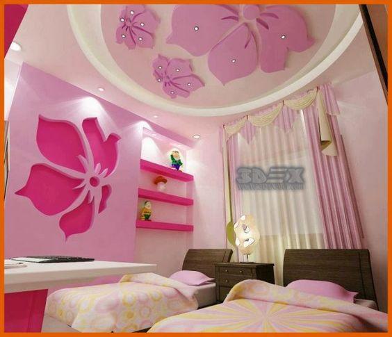 trần thạch cao cho phòng ngủ bé gái màu hồng cánh hoa