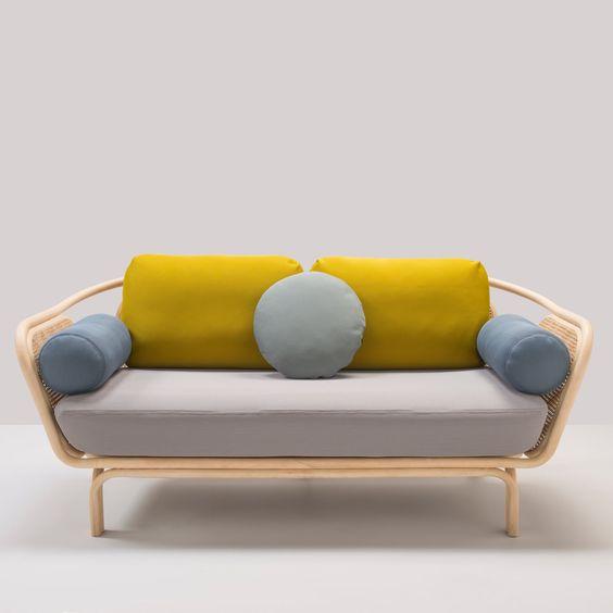 bàn ghế sofa mây tre đan bọc vải đẹp