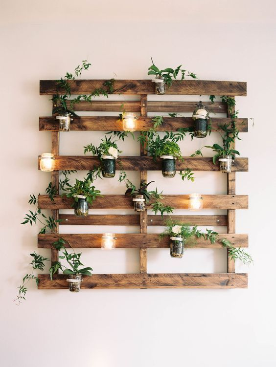 kệ trang trí cây cảnh đẹp treo tường bằng gỗ
