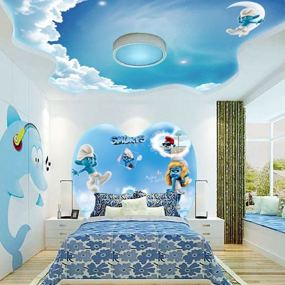 phòng ngủ trẻ em có trần thạch cao màu xanh