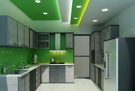 trần thạch cao phòng bếp màu xanh