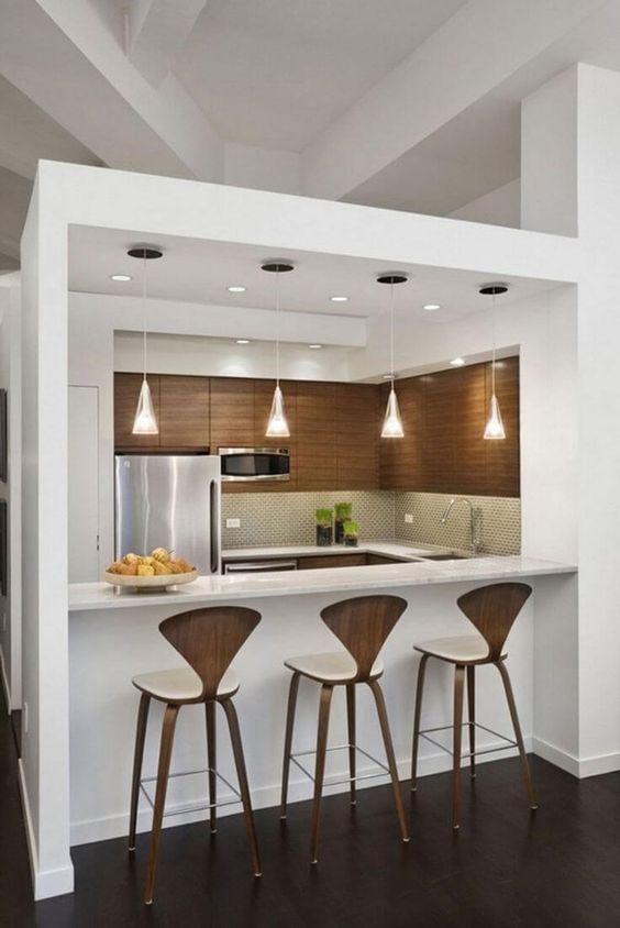 phòng bếp chung cư hiện đại nhỏ xinh