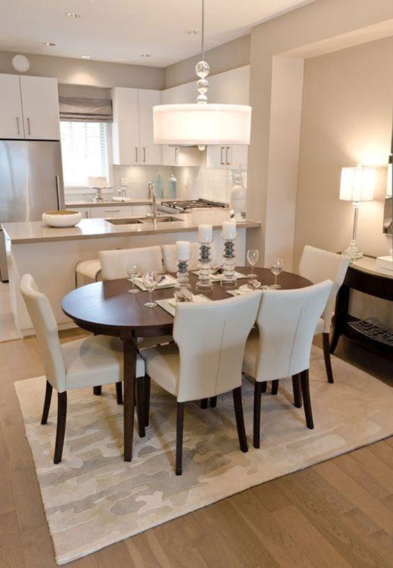 phòng bếp liền kề phòng khách hiện đại
