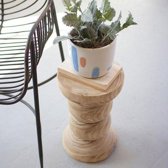 đôn gỗ tròn tiện để cây cảnh
