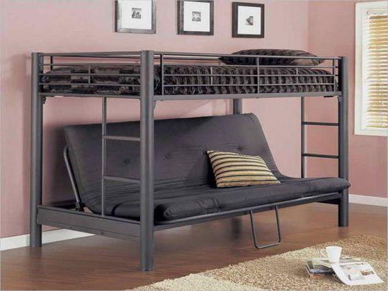 giường ngủ sắt kết hợp ghế sofa