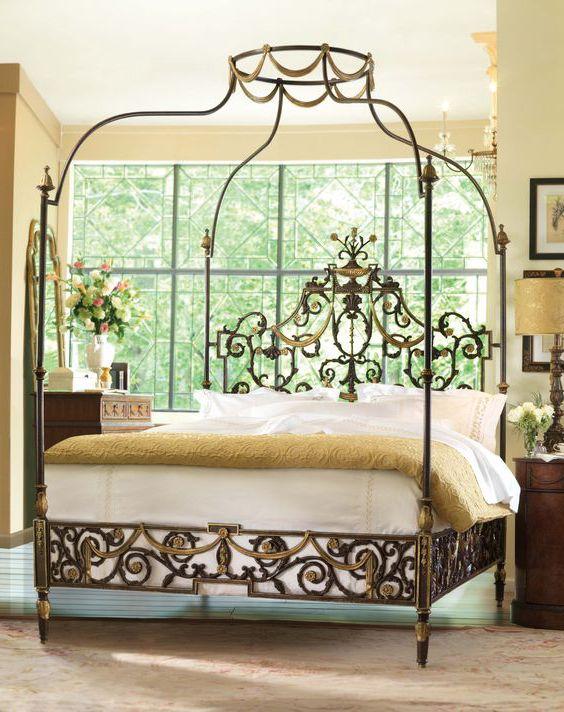 giường ngủ phong cách hoàng gia khung sắt
