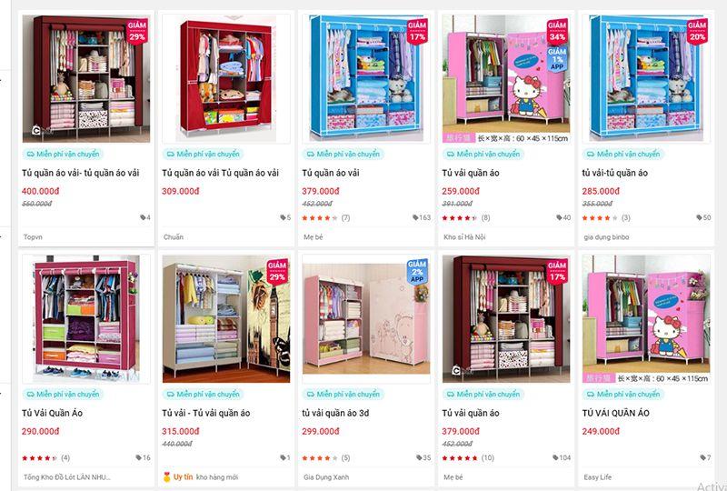Giá tủ quần áo vải trên Sendo với mức giá chỉ khoảng 2-300k VNĐ.