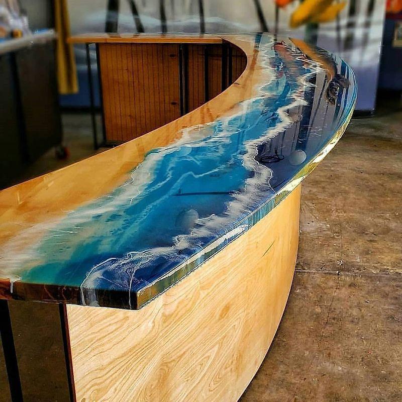 bàn quầy bar epoxy resin