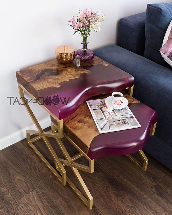 bàn bên sofa bằng gỗ epoxy resin