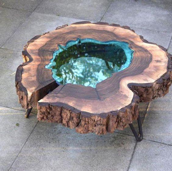 bàn trà gốc cây phủ keo epoxy resin