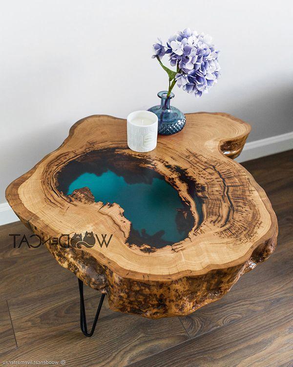 bàn trà epoxy resin gốc cây