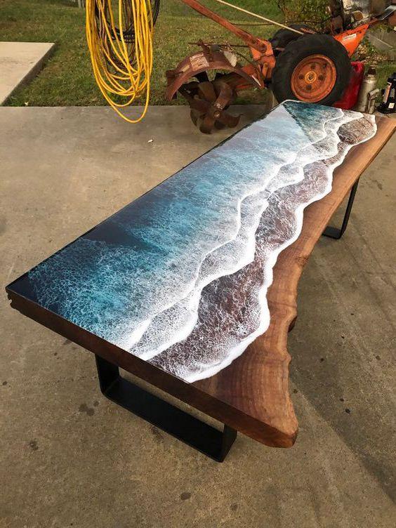 mặt bàn epoxy resin 3D