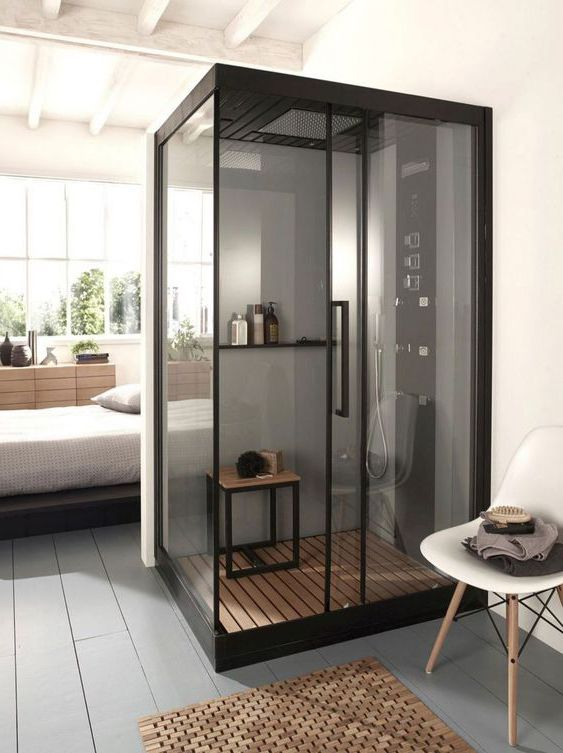 phòng tắm kính trong phòng ngủ