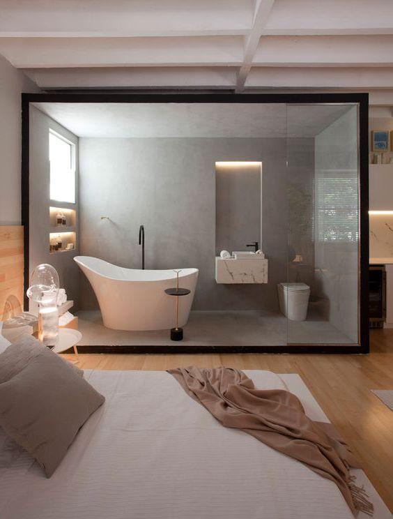 phòng tắm bằng kính đẹp mắt