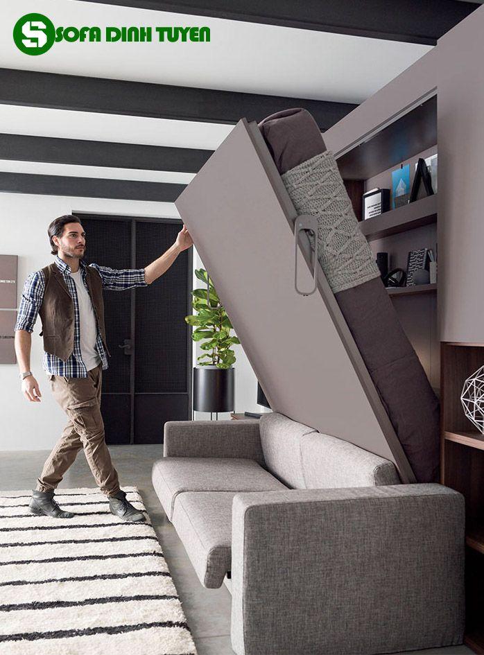 mẫu ghế sofa kết hợp giường ngủ âm tường