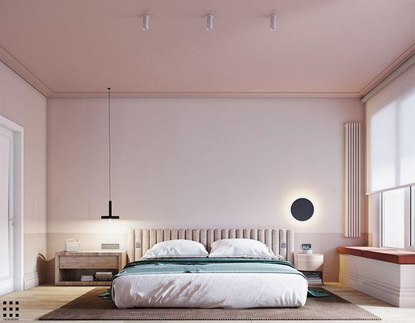 phòng ngủ màu hồng đơn giản