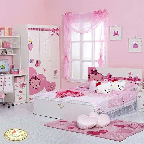 phòng ngủ màu hồng hello kitty