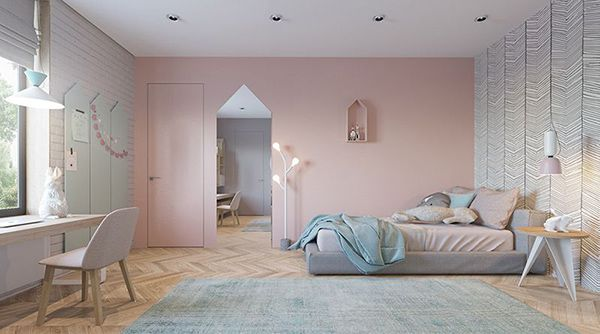phòng ngủ màu hồng nhạt
