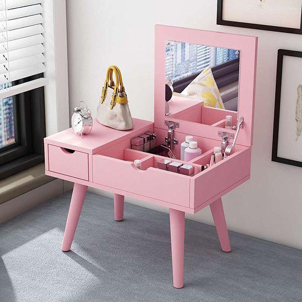bàn trang điểm mini nhỏ gọn màu hồng hiện đại