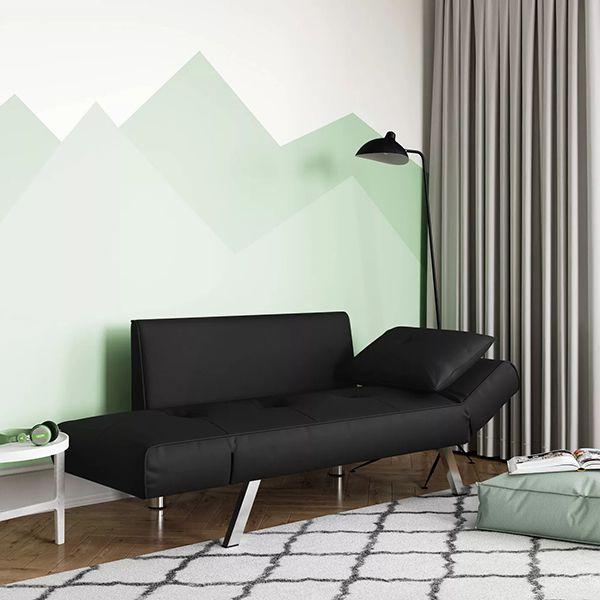 ghế ngủ văn phòng dạng sofa chân inox màu đen