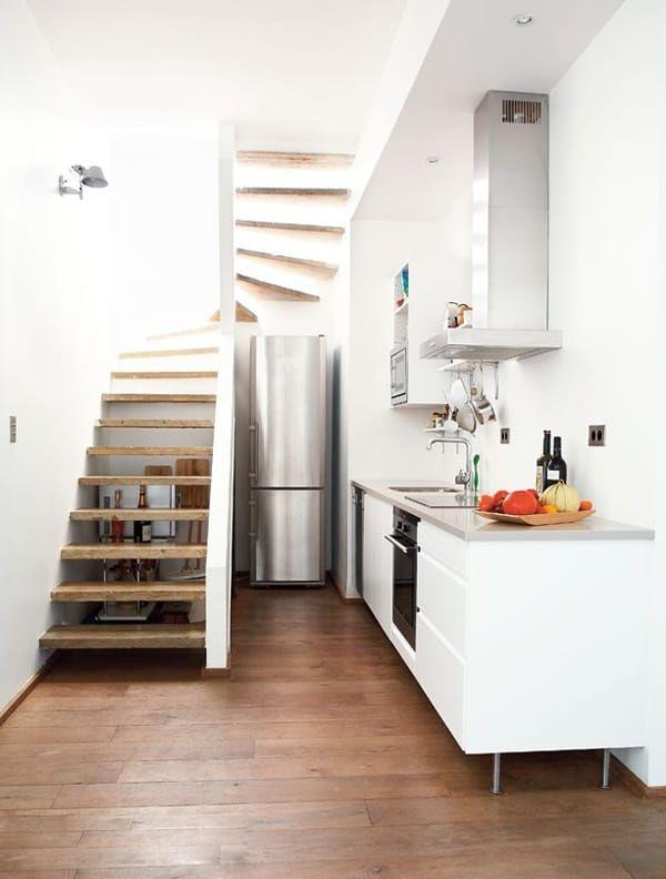 bếp dưới chân cầu thang đẹp hiện đại