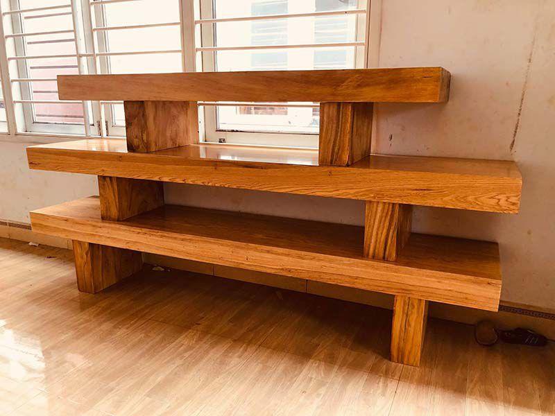 mẫu kệ tivi 3 tầng cục gỗ hương