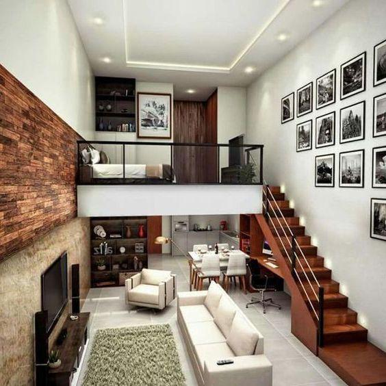 phòng khách nhà ống 5m có cầu thang đơn giản
