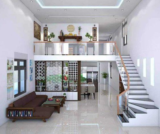 Phòng khách nhà cống 5m có cầu thang đa năng