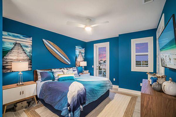 phòng ngủ màu xanh dương đẹp