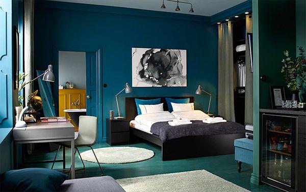 phòng ngủ màu xanh dương đẹp mắt