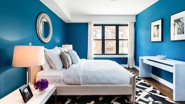 phòng ngủ màu xanh dương sơn trắng