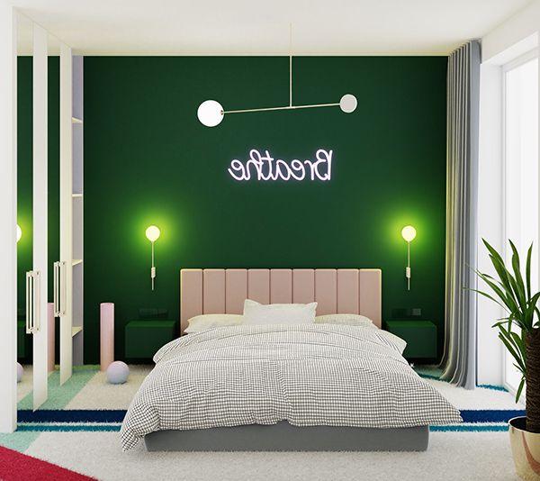 giường ngủ màu xanh lá cây đẹp mắt
