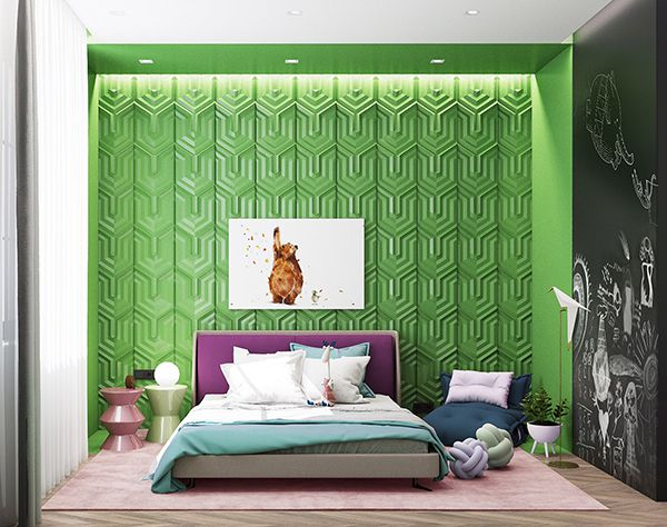 phòng ngủ màu xanh lá cây đẹp mắt