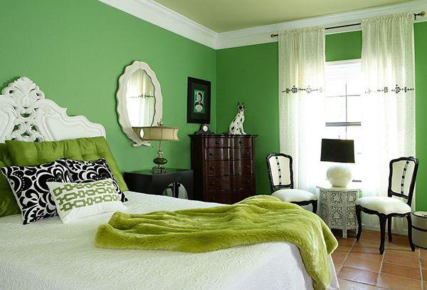 phòng ngủ màu xanh lá mạ đẹp mắt