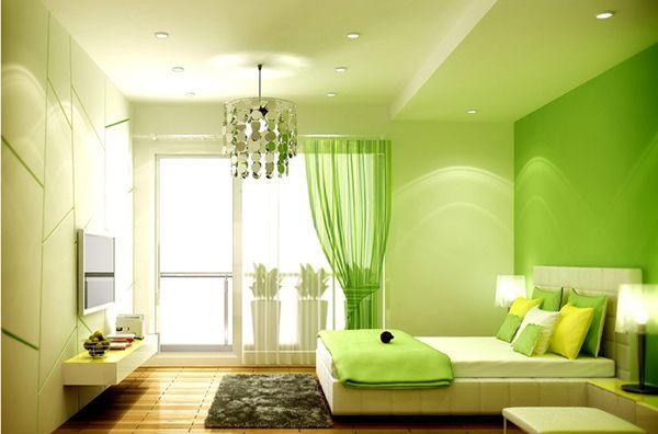 phòng ngủ màu xanh lá mạ