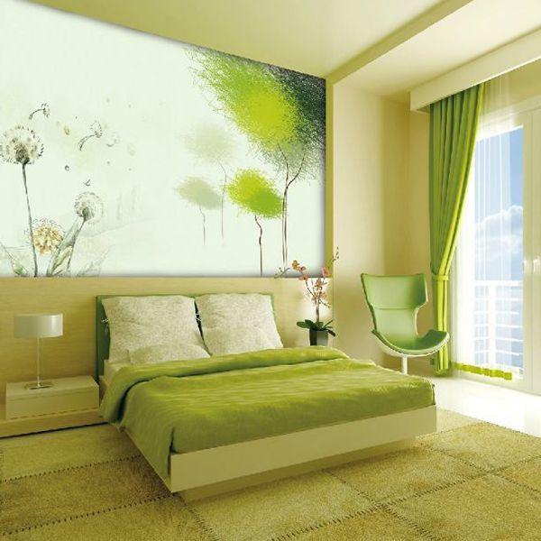phòng ngủ màu xanh lá mạ đẹp