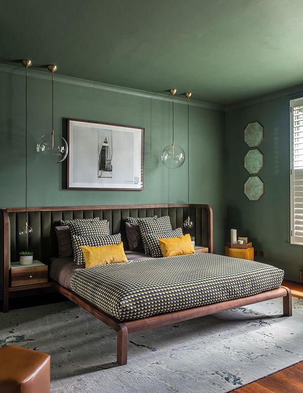 phòng ngủ màu xanh ngọc bích đẹp