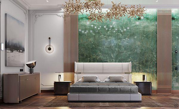phòng ngủ màu xanh ngọc bích.