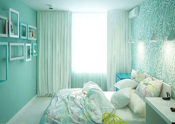 phòng ngủ màu xanh ngọc đẹp