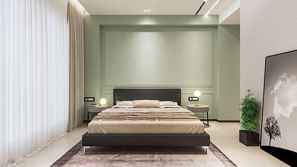 phòng ngủ màu xanh nhạt